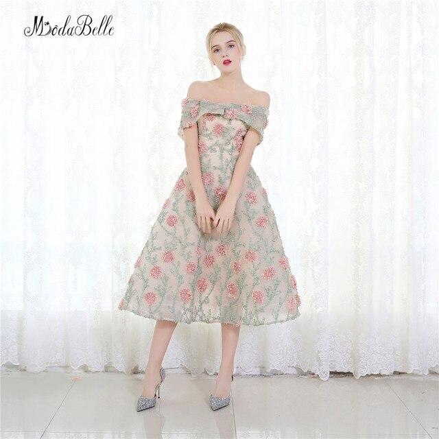 Modabelle Rosa Blumen Short Prom Kleider 2017 Eine Linie 3D Blumen ...