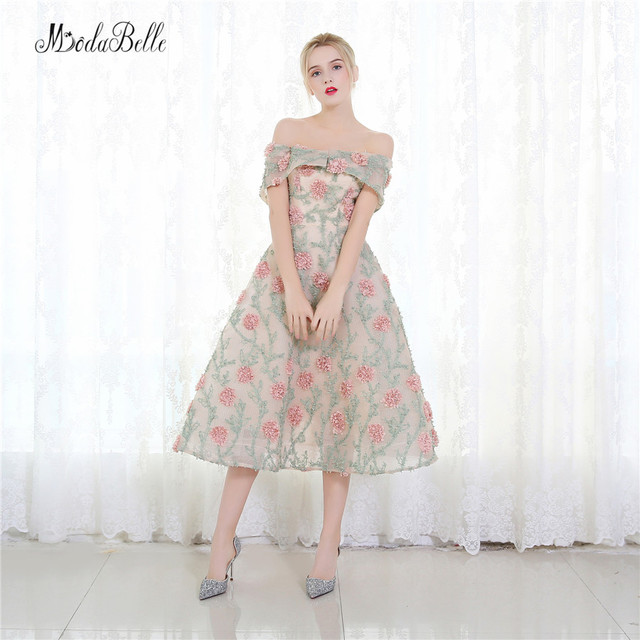 modabelle Pink Floral Short Prom Dresses 2017 A Line 3D Flowers ...