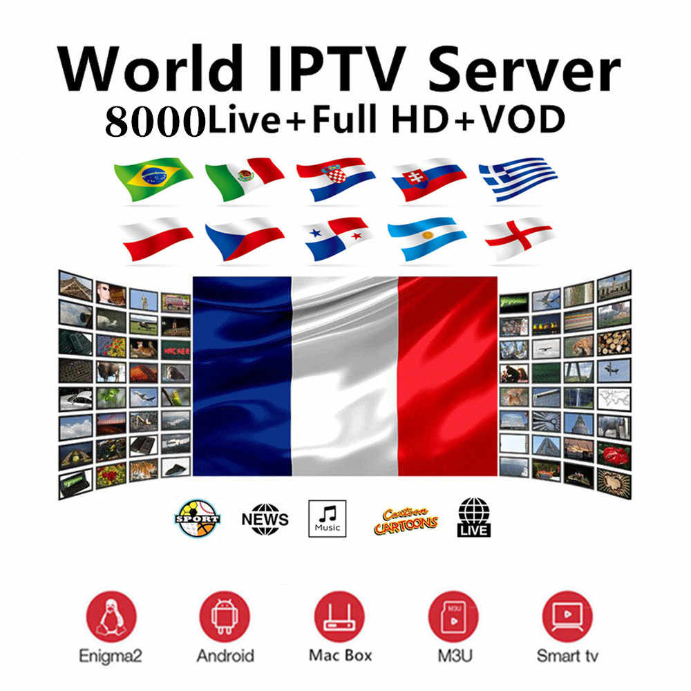 HD World IPTV +8000 Live 13000 VOD 4K HD Channel best for Europe Arabic Asian Africa Latino America Global IPTV subscription