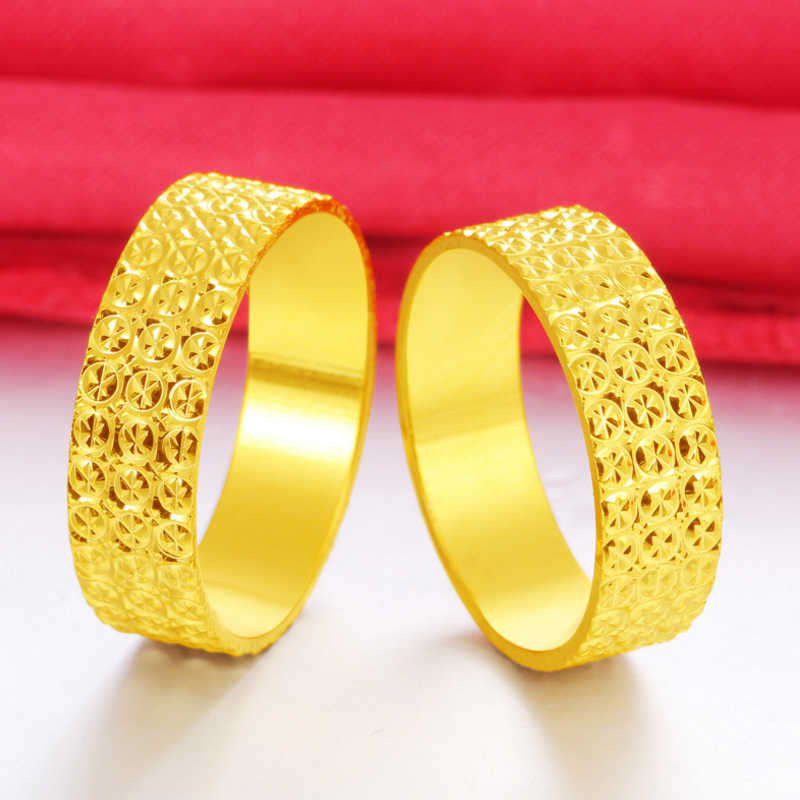 Fashion Exquisite Copper Plated 24K Alluvial Gold Ring Jewelry