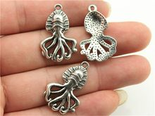 WYSIWYG 8pcs 28x18mm Sepia Charms Octopus Charms Squid Charms Vintage DIY Accessories For Jewelry Making(China)