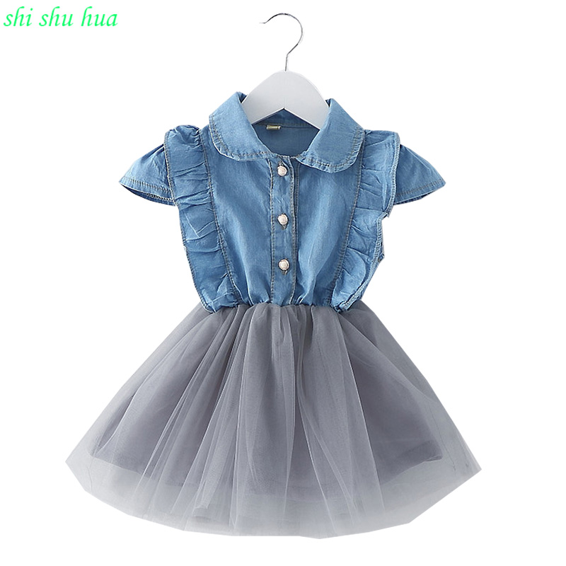 Girl Costume Summer Dress Denim Net yarn Splice Baby Fashion Dress 0-3 Year Old Girl clothing Comfortable Clothes Hot Sale
