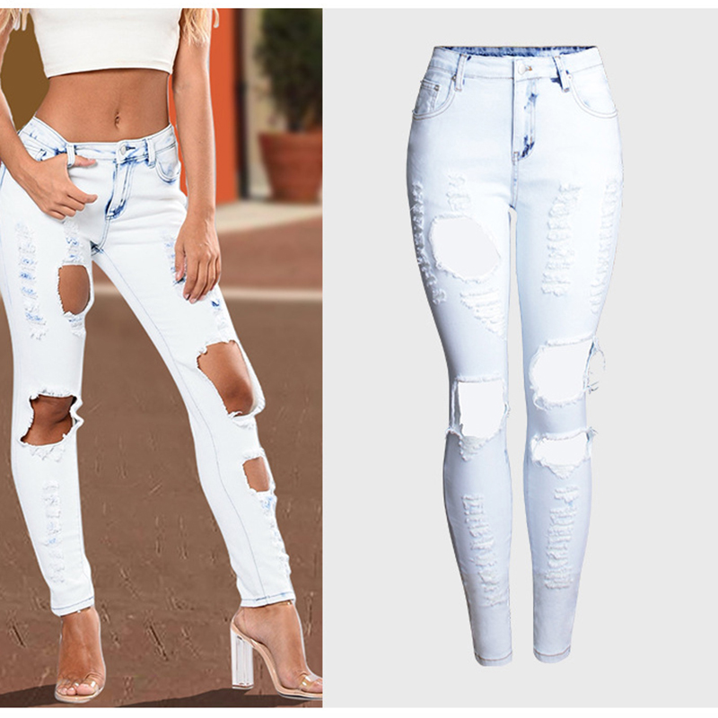 Plus Size Fashion Jeans Women Stretch Denim Pants Trousers Hole Ripped Vintage Street Wear Pencil Pants Mid Waist Denim Pants 2017 fashion women jeans retro style floral embroidery ripped hole denim pencil pants vintage mid waist ankle length trousers