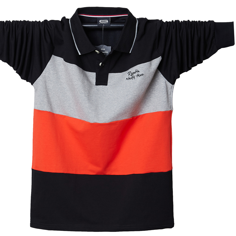 2019 Polo Shirts Plus Size M-5XL Polo Shirt Men Big Tall Autumn Fit Slim Patchwork Long Sleeves Top Tees Cotton Male Large Tee