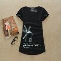 2015 O Pescoço mulheres sexy camisas Camisetas mulheres tops e t-shirt verão mulheres borboleta encabeça a camisa de t