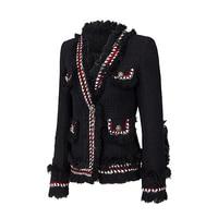 2017Tweed jacket coat spring/autumn women's woolen cashmere coat long sleeve slim tassel pearl button elegant runway jacket