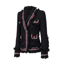 2017Tweed jacket coat spring/autumn women's woolen cashmere