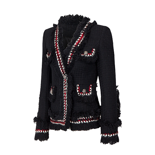 2017Tweed jacket coat  spring/autumn women's woolen cashmere coat long sleeve slim tassel pearl button elegant runway jacket|runway jacket|coat spring|jacket coat - title=