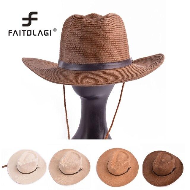 Moda vaquero fresco paja estilo mujer hombre sombrero de Panamá del sombrero  con la correa de bd7977918f3