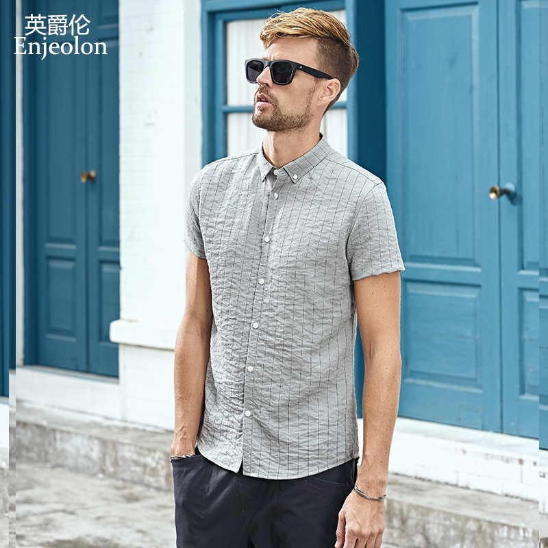 b844dd82b24497c Enjeolon брендовая летняя рубашка с коротким рукавом мужская однотонная  полосатая рубашка хлопковая одежда мужская повседневная для