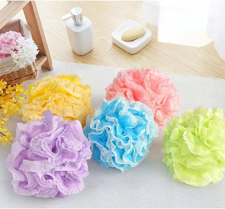 50pcs Thickening Lace Bathing Ball Home Lovely Large Rubbing Bath Ball Children Bath Flower 5 Colors