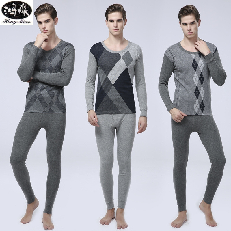Men Pajamas Sets 2018 New Autumn Winter Geometric Long-sleeve Coton Pyjamas Suits Male 2 Piceces Home Clothing