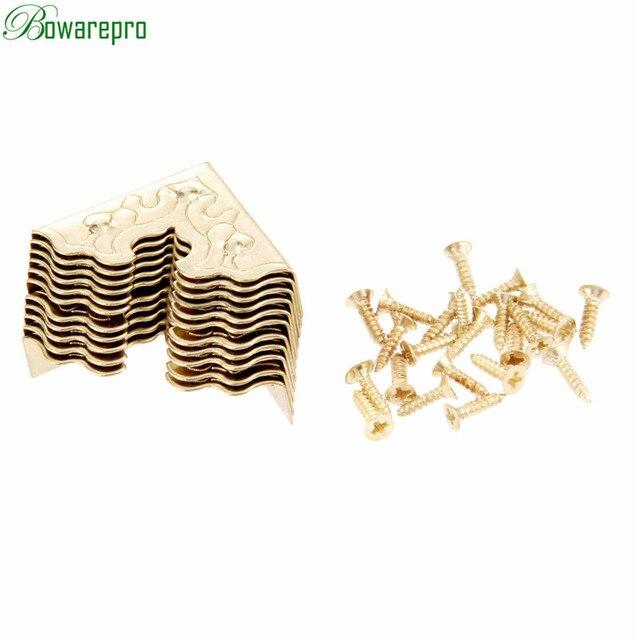 Bowarepro antika mücevher kutusu köşe ayak ahşap kutu köşe koruyucu dekoratif köşe mobilya Metal el sanatları 25mm 10 adet