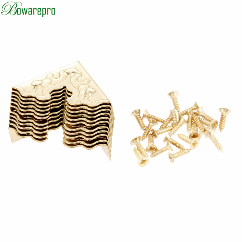 Bowarepro Antique Jewelry Box Corner Foot Wooden Case Corner Protector Decorative Corner For Furniture Metal Crafts 25mm 10PCS