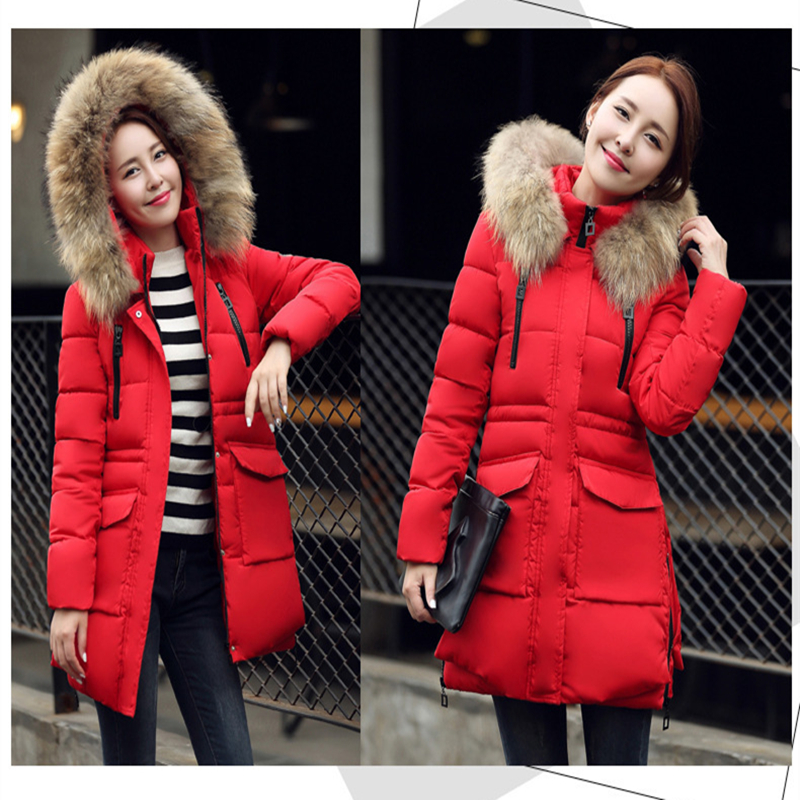 Parka Women 2018 Winter Jacket Women Long Section Thick Bread Students Cotton Jacket Coat Loose Cotton Padded Jacket