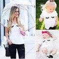 Familia de moda de verano a juego trajes de bebé girls clothing ojos lip imprimir blanco madre del padre-niño de la camiseta infantil ropa de niña