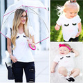 Moda de verão da família roupas combinando bebê meninas clothing olhos lip imprimir branca t-shirt pai-filho mãe roupas de menina infantil