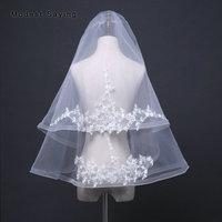 Ivory 85cm+65cm 2 Layers Lace Wedding Veils 2018 with Plastic Comb Elbow Length Bridal Veils Wedding Accessories voile de mariee