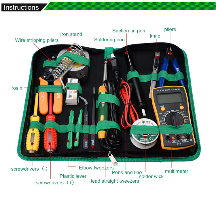 ФОТО Useful Cell Phone Repair set Household Multi-fuctional Tool  Soldering Iron Multimeter Stripping Pliers BST-113