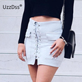 UZZDSS 2016 Autumn Winter A-line High Waist Suede Leather Skirt Women Solid Lace up Vintage Preppy Casual Mini Skirts Black Nude