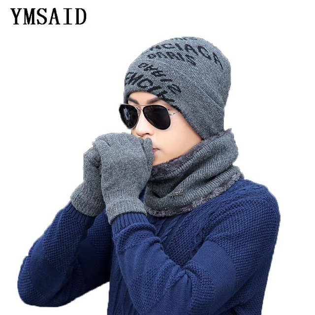 f1fb79698f7 2018 Winter Hat 3pcs Knitted Hat Gloves Scarf Set For Men Winter Fashion  Soft Warm Casual