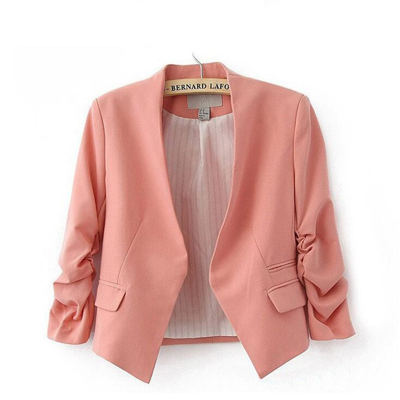 Fashion   Basic     Jacket   coats Women Suit Cardigan Puff Sleeve outerwear slim   jacket   Coats Casual suits Feminino Candy Color Coats
