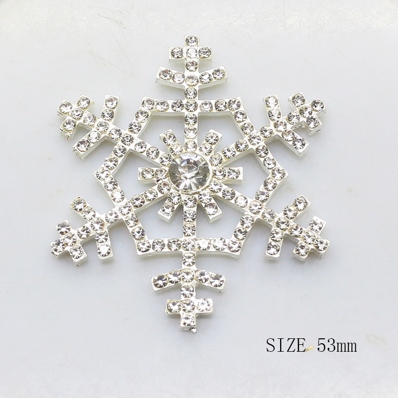 YWXINXI New Christmas Accessories 5Pcs/Lot 53mm Snowflake Jewelry Hand Made Festival Shiny Decor Setting Supplies For Wholesale
