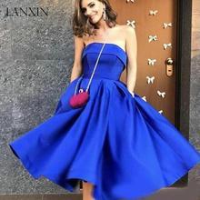 a5cb9015c5e30 Kraliyet Mavi Kısa Homecoming Mezuniyet Elbiseler Genç Kızlar 2019 Artı  Boyutu Güzel Tatlı Kapalı Omuz Saten