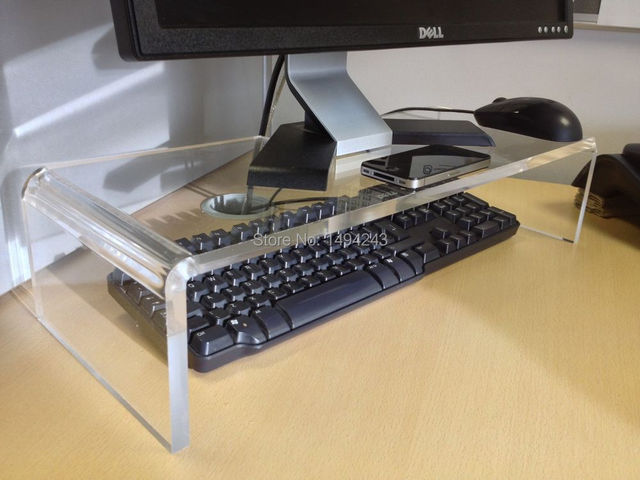 20inchs Acrylic Computer Monitor Desk Riser Stand Clear 500 L 200 W