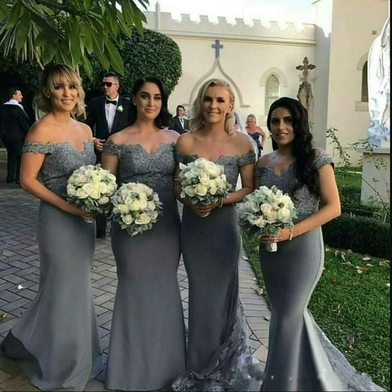Sexy Gray Lace Mermaid   Bridesmaid     Dresses   For Arabic Weddings Off Shoulder Buttons Back Backless Sweep Train Cheap Prom Gowns