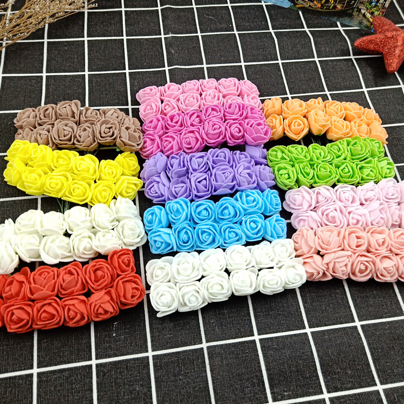 12 Pcs / Lot Simulation Mini Pink Artificial Flower Foam Flower Diy Ball Flower Headdress Garland Decoration Wedding Wedding Flo