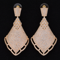 missvikki Noble Trendy Luxury jewellery Gold Silver Micro setting Cubic Zirconia Women Big Round pendant earring Anniversary