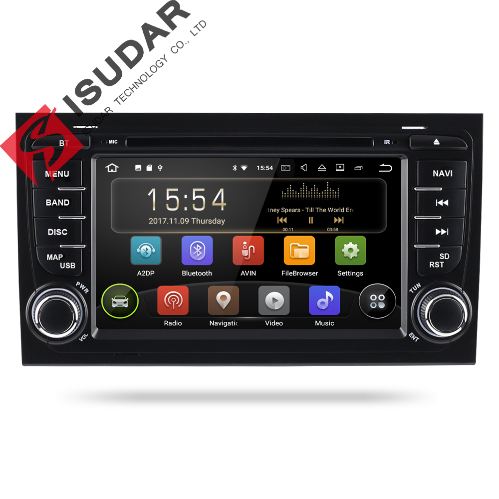 Isudar 2 Din Car Multimedia Player GPS Android 8.1.0 DVD Automotivo For Audi/A4/S4 2002 2008 Radio Quad Cores RAM 2GB ROM 16GB