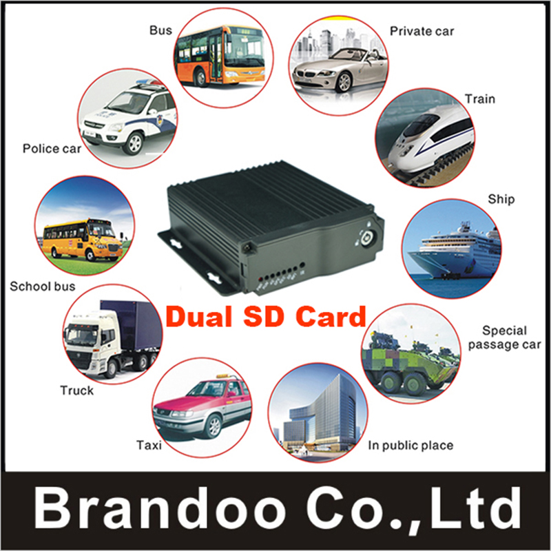 4CH Small Size Dual SD Card Car DVR 720P Mobile DVR MDVR for Truck Taxi Bus Train Vans gps function car dvr 4ch 720p car dvr for bus taxi truck vans