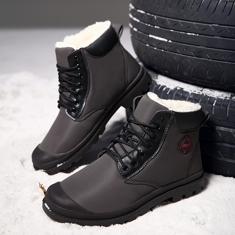 men Large size 45 Fashion Men Winter keep Warm Boots with fur Plush Snow Boots PU Leather Footwear comfortable casual shoes w4 casual snow boots women fashion waterproof shoes female 35 45 fur 2018 winter leather high keep warm plush free shipping quality