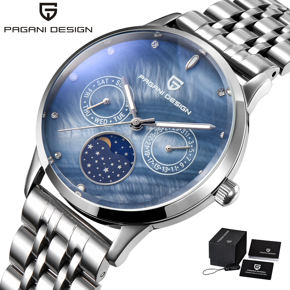 Pagani Design Luxury Brand Blue Quartz Watch Women Week Display Calendar Ladies Casual Watch Silver Steel