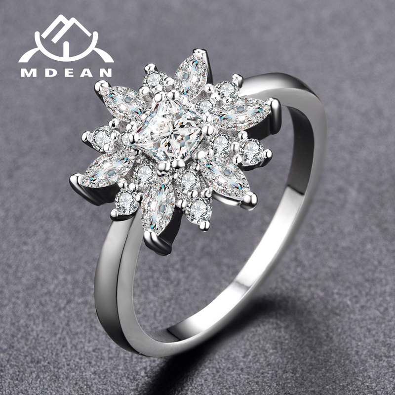 MDEAN Noble White Gold Color Engagement Rings for Women Wedding Clear AAA Zircon Jewelry Bague Bijoux Size 6 7 8 Z005-Y-W