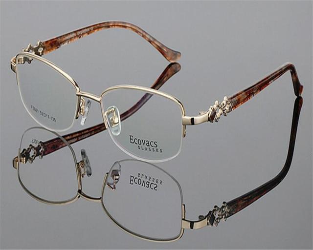 aeb18a430f2 52-17-136 Brand Design Women Half Rim Alloy Prescription Lens Gold Red  Presbyopia Optical Anti-fatigue Reading Glasses ZJH3061