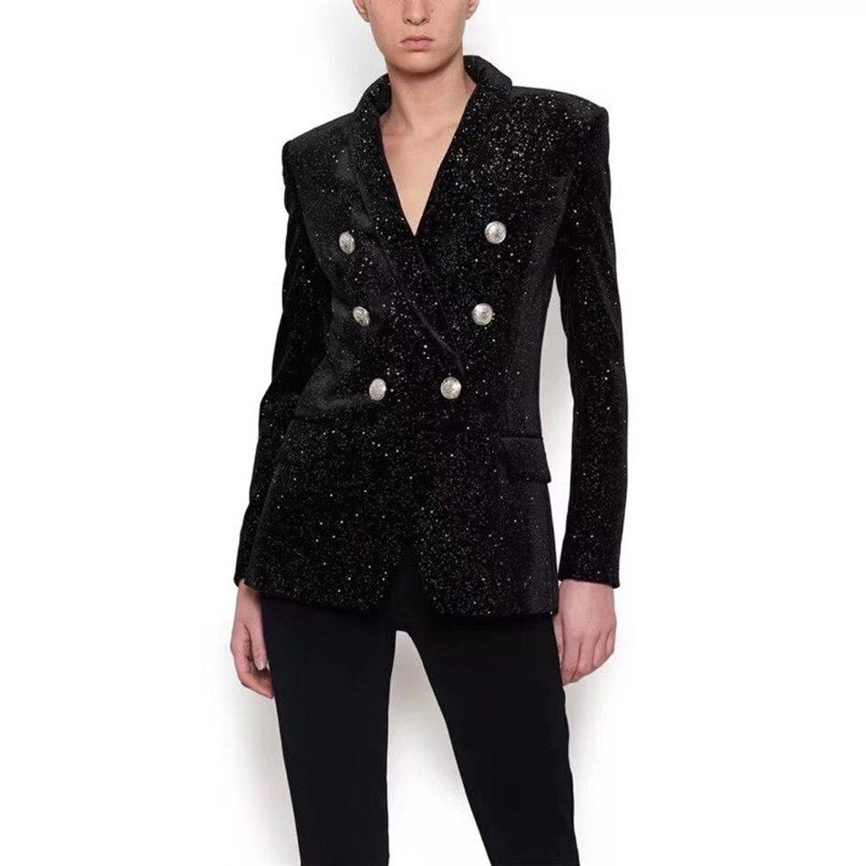 De Paillettes Qualité À D'hiver Femmes Noir Boutonnage Longues Costume Manteau Et Mode V Automne Haute Col Double Nouvelles Manches 2018 XSq4CF