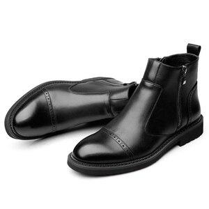 Image 2 - البريطانية نمط تصميم الرجال أزياء أسود تشيلسي الأحذية شهم حذاء بوت بطول الكاحل جلد طبيعي البروغ حذاء أيرلندي منحوتة بولوك حذاء رجل