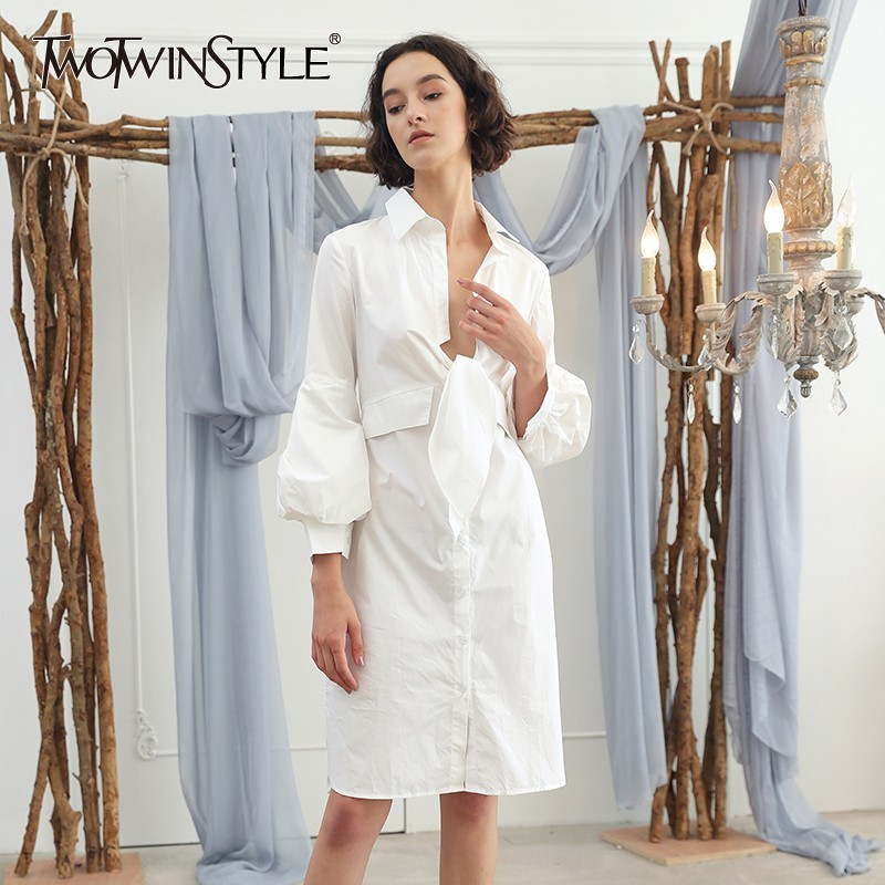 TWOTWINSTYLE Autumn Bow Womens Tops And   Blouses     Shirt   V Neck Lantern Sleeve High Waist White Long   Blouse   Top Female Elegant 2018