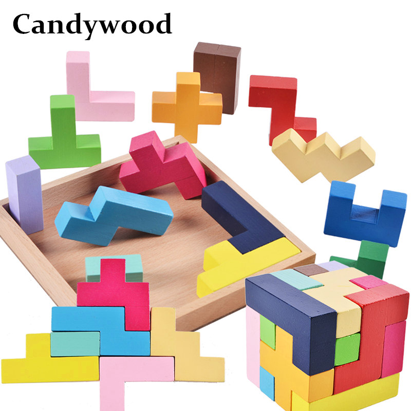 Candywood 2018 New Wooden Puzzle Toy Tangram Brain Teaser Tetris Game Montessori Educational Learning Toys for Children kids
