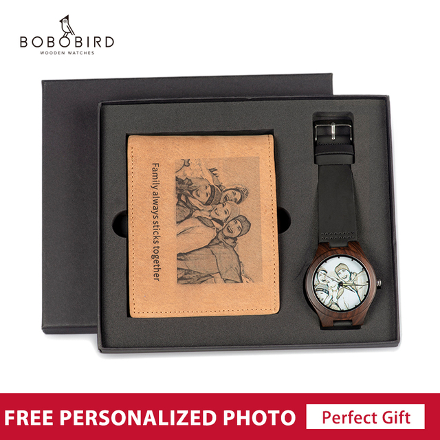 Personalized Photo Watch and Wallet Combo Set Men Wood Watch Birthday Christmas Gifts for Him Fathers Day Gift