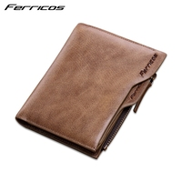 FERRICOS 2017 100 Top Quality Natural Genuine Leather Wallets Fashion Splice Dollar Purse Carteira Masculina Mens