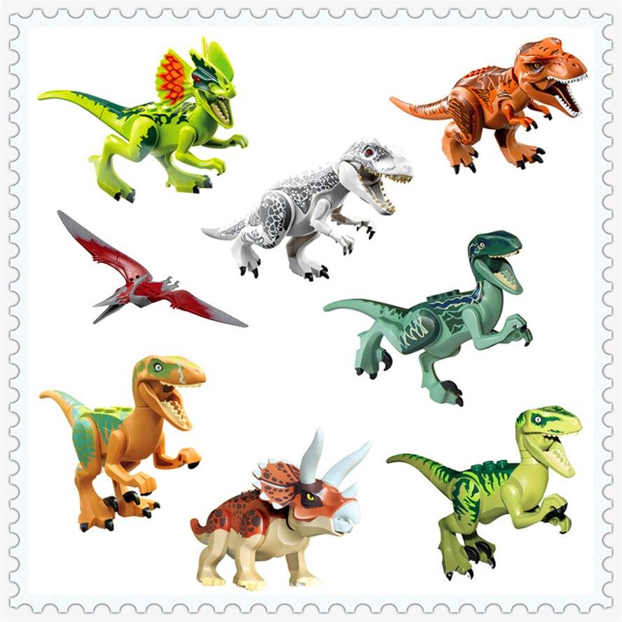 8Pcs/lot Building Block Compatible Legoe Toys Dinosaurs Jurassic World Tyrannosaurus Model Figure Brinquedos Gift For Children 0367 sluban 678pcs city series international airport model building blocks enlighten figure toys for children compatible legoe