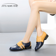 Genuine cow leather brogues ladies designer vintage flats shoes handmade blue red oxford shoes for women with fur 2018 winter