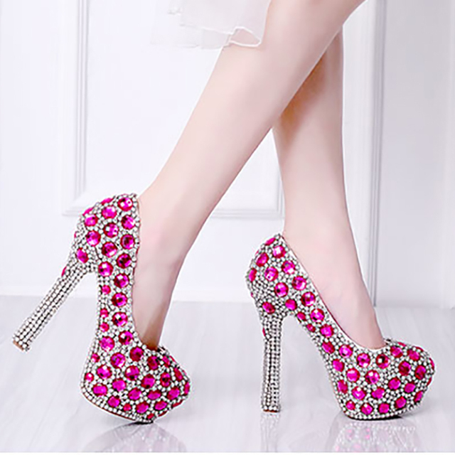 bc08756b45f8 Platform Pumps Wedding Shoes Green Blue Pink Woman Crystal High Heels Bride Ladies  Shoes Party Rhinestone Round Toe Slip On Shoe
