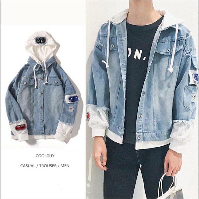 Us 2075 40 Offdenim Jacket Men Hooded Sportswear Outdoors Casual Fashion Jeans Jackets Hoodies Cowboy Mens Jacket And Coat Streetwear Style In