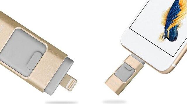 Usb Flash Drive Для iphone 6, 6 Плюс 5 5S ipad Металла Ручка привода HD memory stick Двойного назначения мобильный Otg Micro 32 ГБ 64 ГБ PG3