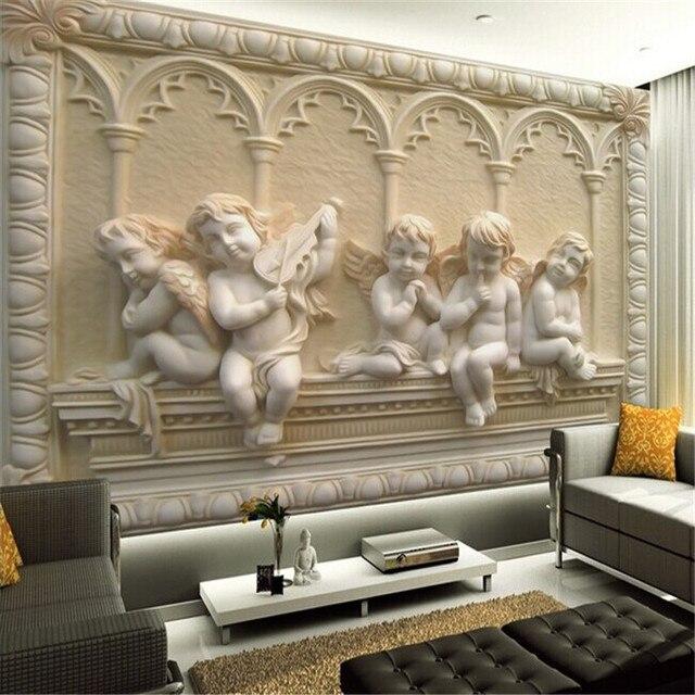Personnalisé 3d Murale Papier Peint De Style Européen Peinture Relief  Stéréoscopique Jade Salon TV Toile De